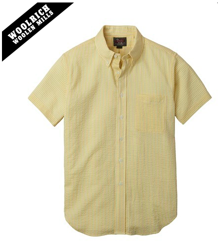 Woolrich X Mark McNairy Seersucker Stripe Short Sleeve Button Down