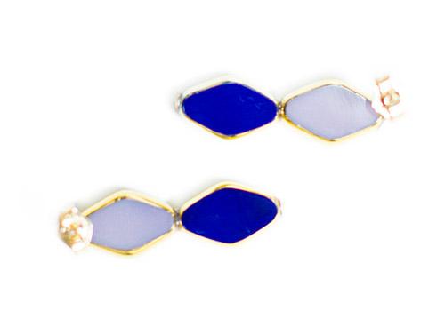 I. RONNI KAPPOS STACKED DIAMOND SHAPED NAVY LAVENDER STUD EARRINGS