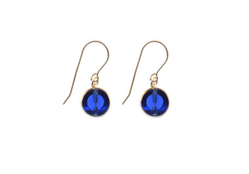 I. RONNI KAPPOS SHORT BLUE CIRCLE DROP EARRINGS