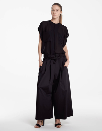 Tome Black Cotton Sateen Karate Pant