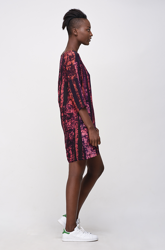 Osei Duro Linter Dress in Carmine Parallel