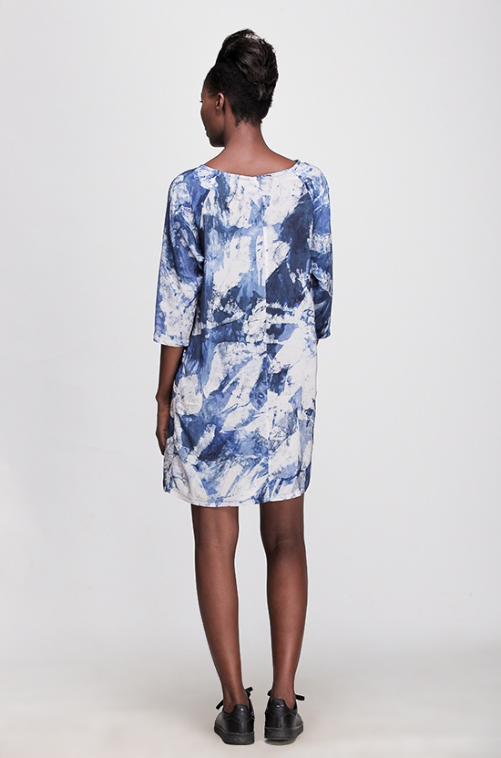 Osei Duro Linter Dress in Blue Abstract