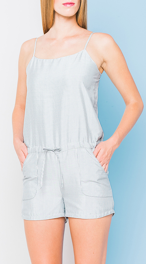 Obakki Striped Playsuit with Pockets