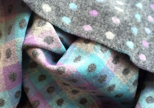 Bronte Grey Pastel Multi Spot Merino Lambswool Throw