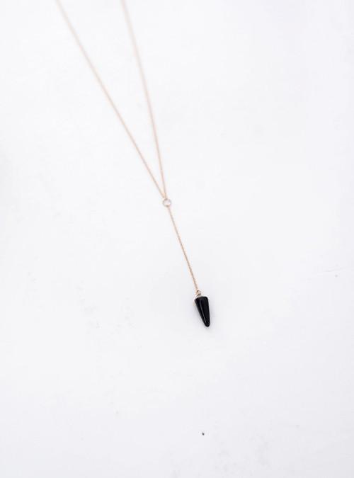 Gem & Blue Mini Lariat Onyx Necklace