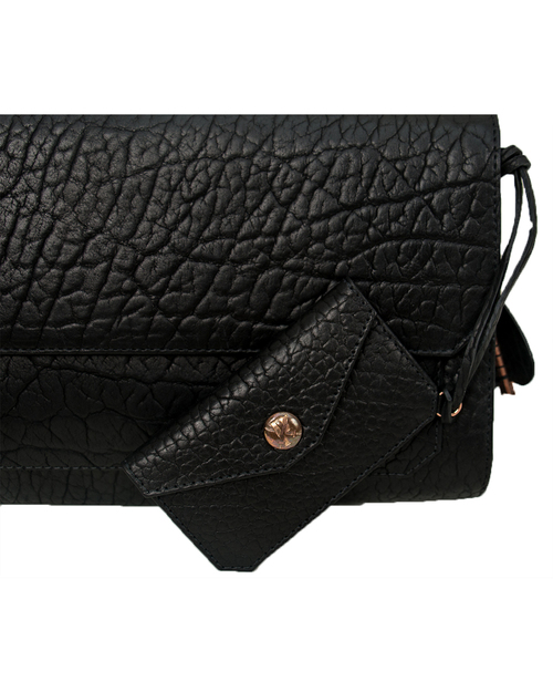 Parabellum Didion Clutch in Black Bison with Copper Hardware