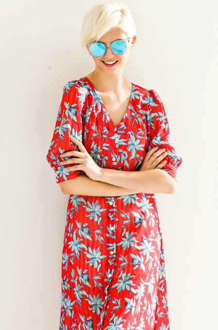 Few Moda Vintage Leaves Midi Dress