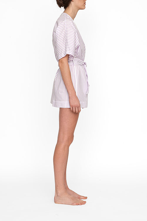 The Sleep Shirt Short Robe Raspberry Stripe