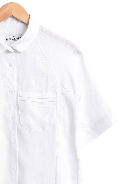 The Sleep Shirt Raglan Pyjama Top White Linen