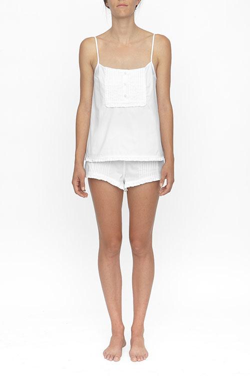 The Sleep Shirt Pin Tuck Short White Royal Oxford