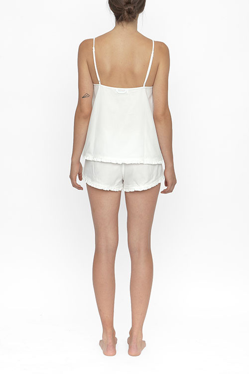 The Sleep Shirt Pin Tuck Camisole White Royal Oxford