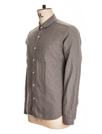 Men's PEREGRINE SHOWROOM OLIVER SPENCER ETON COLLAR SHIRT - ETNA GREY