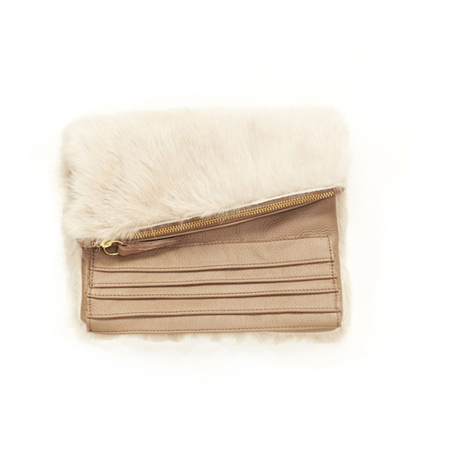 Collina Strada Nico Clutch Taupe Fur