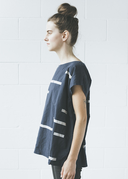 Uzi Broken Stripe Tunic in Navy