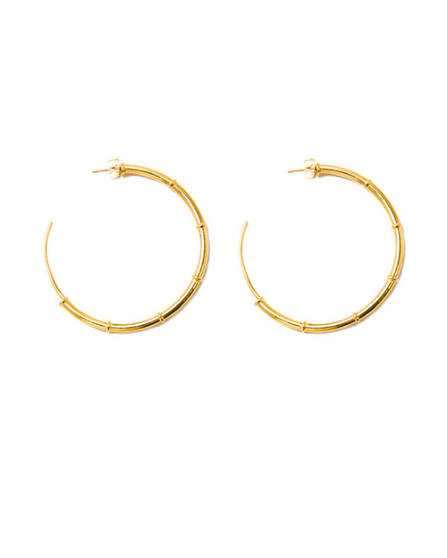 A Peace Treaty Turka Hoop Earrings in Gold Plated Brass