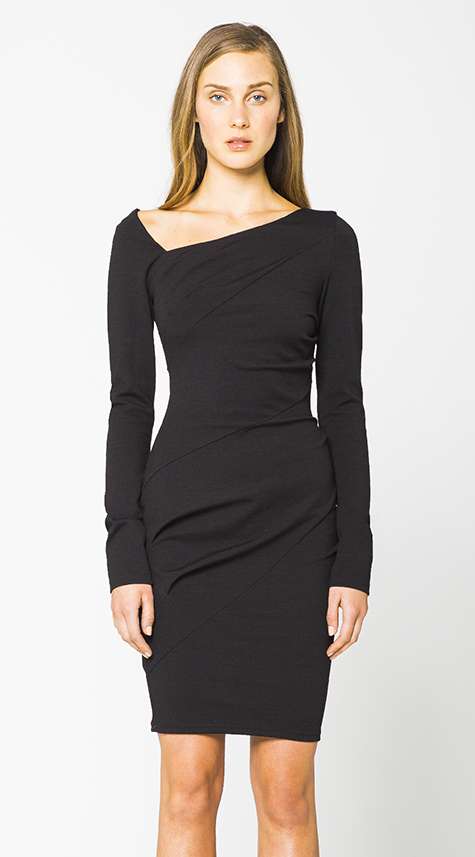 Obakki Asymmetric Neckline Dress Garmentory