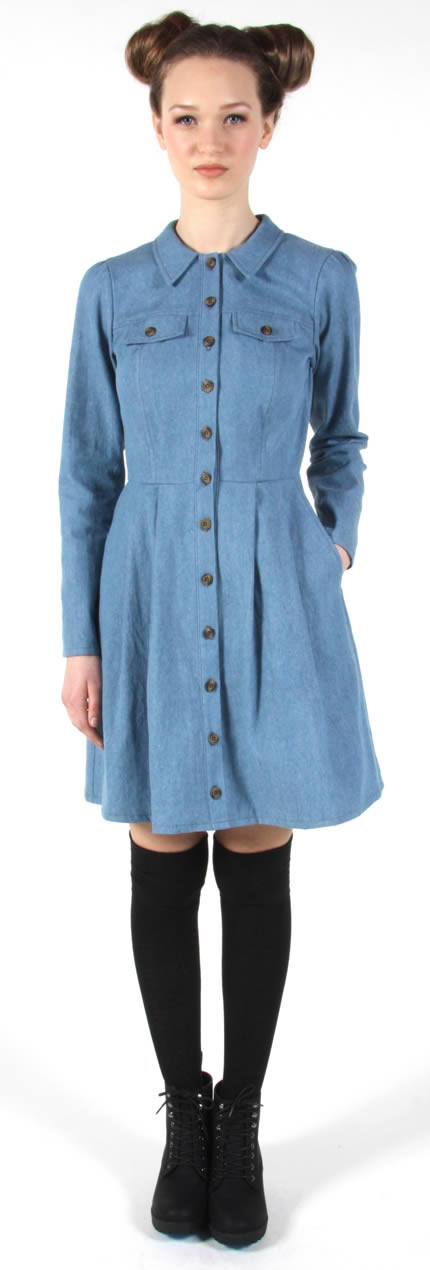 Birds of North America Hoatzin Dress (Faded Denim)