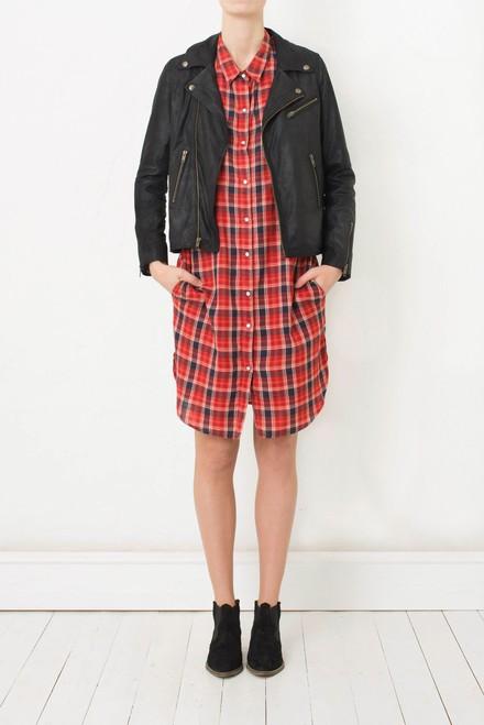 Ganni Plaid Flannel Shirt Dress