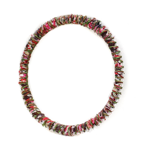 Alyssa Norton Red and Pink Fabric Wrapped Bangle with Tiny Round Rhinestones