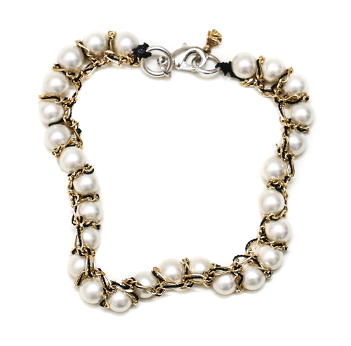 Alyssa Norton Crocheted Pearl Bracelet with Black Thread and Gold Chains