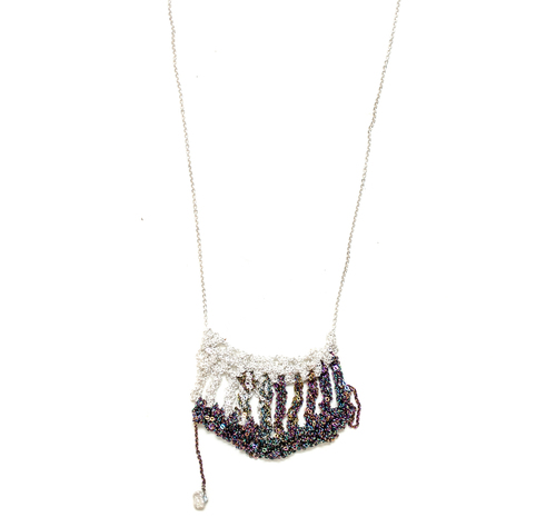 Arielle de Pinto Scallop Drop Necklace in Silver and Spectrum