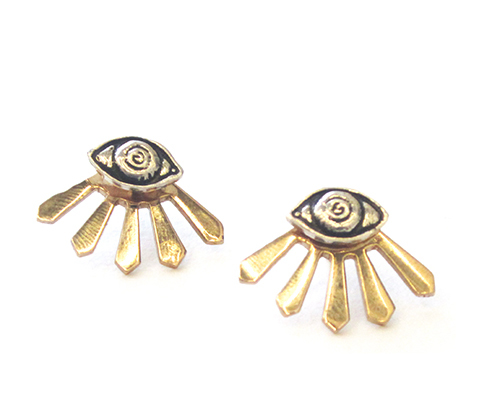 Pamela Love Illuminas Earrings in Sterling Silver and Bronze