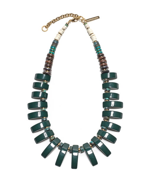 Lizzie Fortunato Dark Green Tile Necklace
