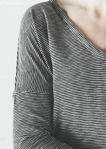 Rag & Bone Theo Long Sleeve Tee | Black Stripe