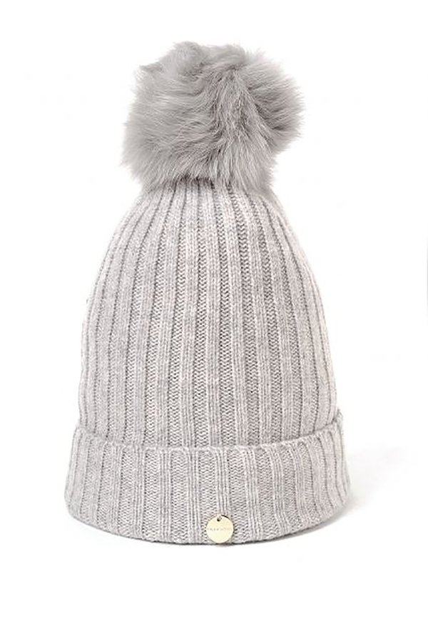 cf3e85c0 Yves Salomon Grey Fur Pom Pom Hat | Garmentory