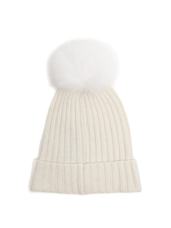 Yves Salomon White Fur Pom Pom Hat