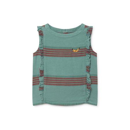 Kids Bobo Choses Stripes Linen Ruffles Shirt - Sea Green Stripes