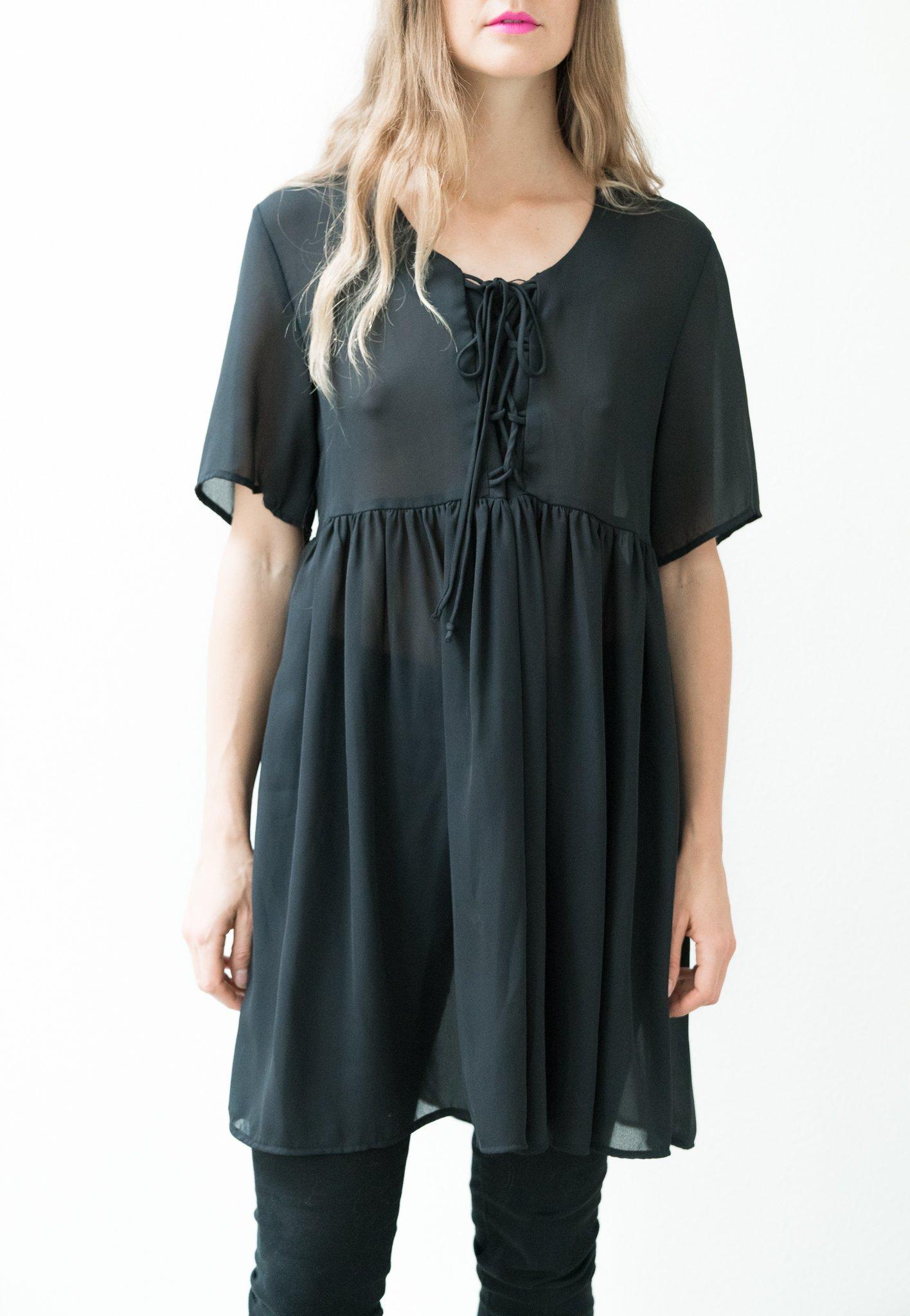 Backtalk Pdx Vintage Sheer Black Lace Up Babydoll Dress