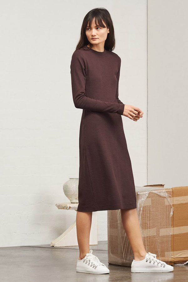 Kowtow Building Block Ladder Rib Long Sleeve Dress