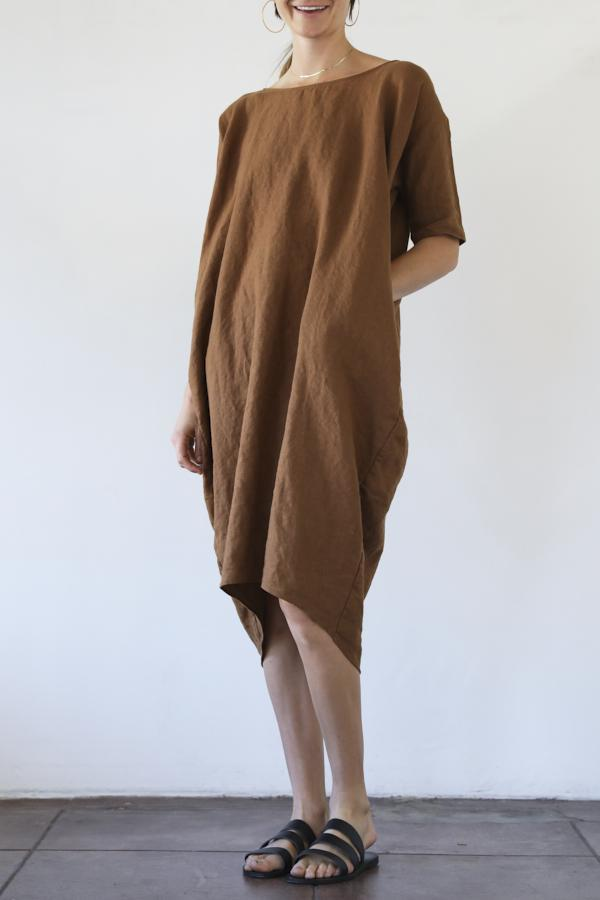 707d57d8f0 Rachel Craven Long Cocoon Dress - Bark Linen
