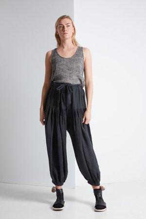 Black Crane Linen Floral Pant