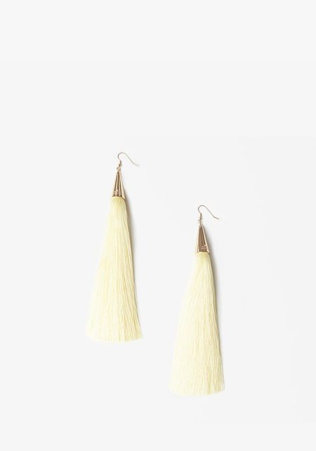 Eddie Borgo Long Tassel Earrings - Cream
