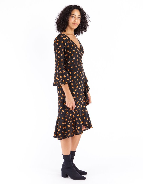 Ganni Beacon Wrap Dress Black Garmentory