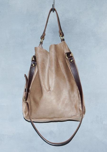 Garayalde Bucket Bag Hair On with Standard Rivets - brown
