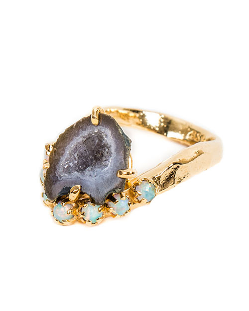Unearthen Lune Ring with Tabasco Geode and Opals