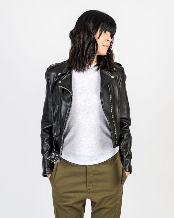 4b88f709c Schott NYC Cropped Perfecto Lambskin Leather Jacket - Black on Garmentory