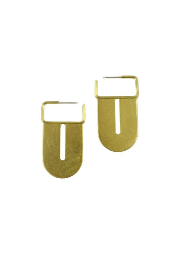 Natalie Joy Arc Hoop Earrings - Brass