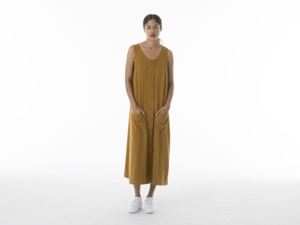 Ali Golden Button Down Tank Midi Dress