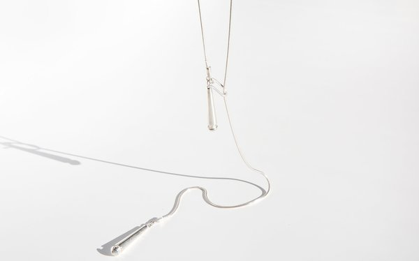 Another Feather Drop Lariat Necklace - Silver