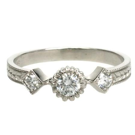 Cathy Waterman Ring - Three Diamond Band w/ Spidery Prong