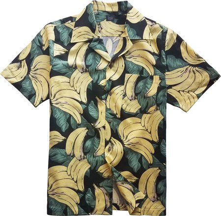 David Hart blue linen camp shirt - Banana Print