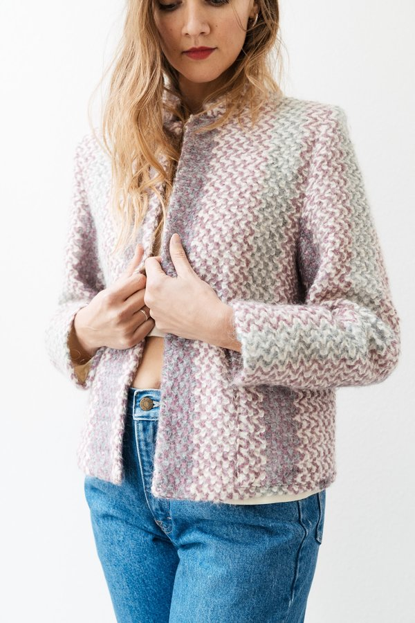 Backtalk Pdx Vintage Zig Zag Pattern Knitted Coat Garmentory