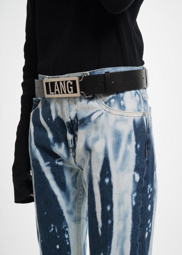 Lang Name Plate Belt in Black Leather Helmut Lang uOhLnWDi3P