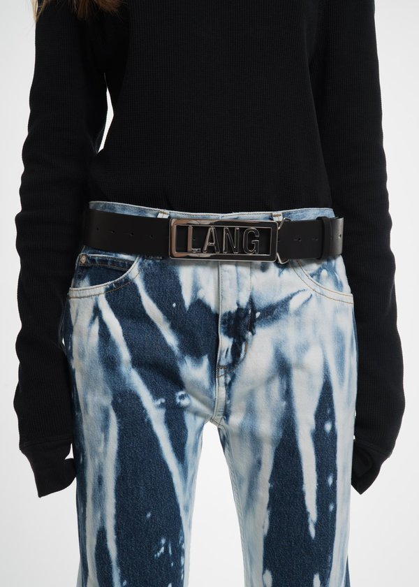 Lang Name Plate Belt in Black Leather Helmut Lang fsgnuHAPY