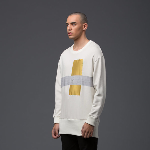 "GARCIAVELEZ - Crew Oversized 7"" Waist - Off White with Maquete Print"