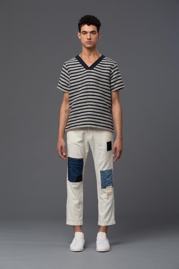 THADDEUS O'NEIL - V-Neck Top - Navy Stripe
